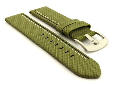 Waterproof Synthetic Watch Strap LYON, Cowhide Lining Green 26mm
