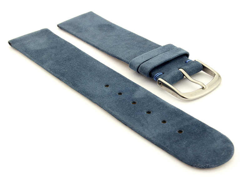 Suede Genuine Leather Watch Strap Malaga Blue 01
