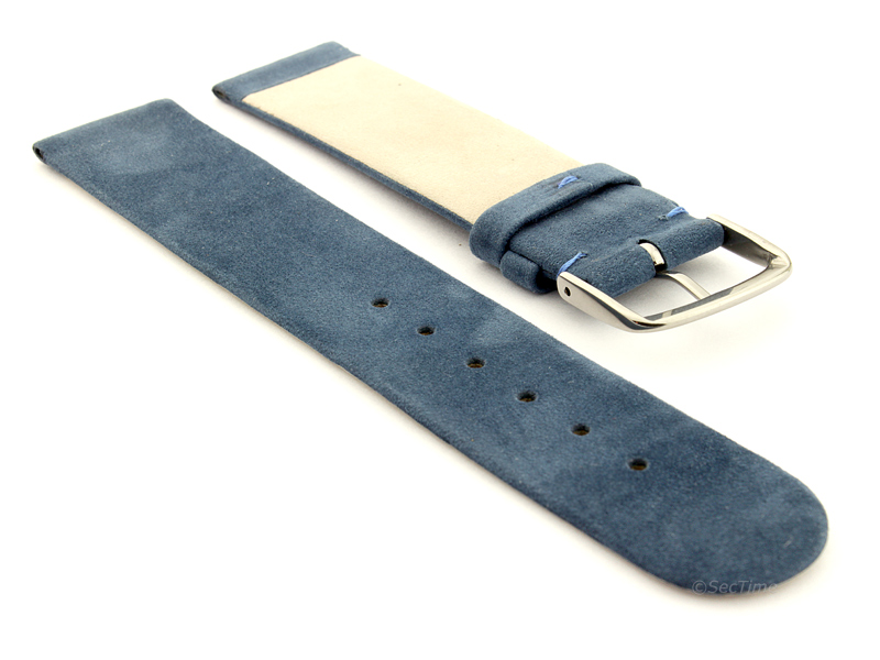 Suede Genuine Leather Watch Strap Malaga Blue 02