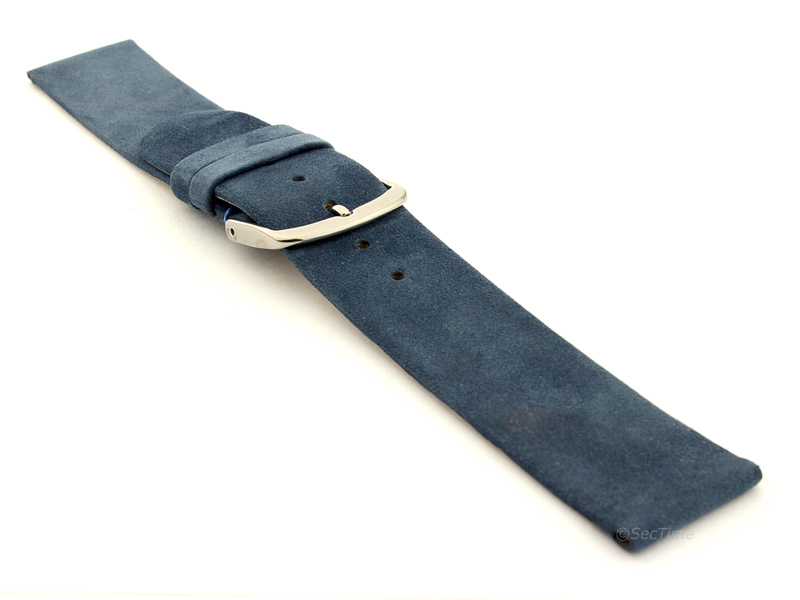 Suede Genuine Leather Watch Strap Malaga Blue 03
