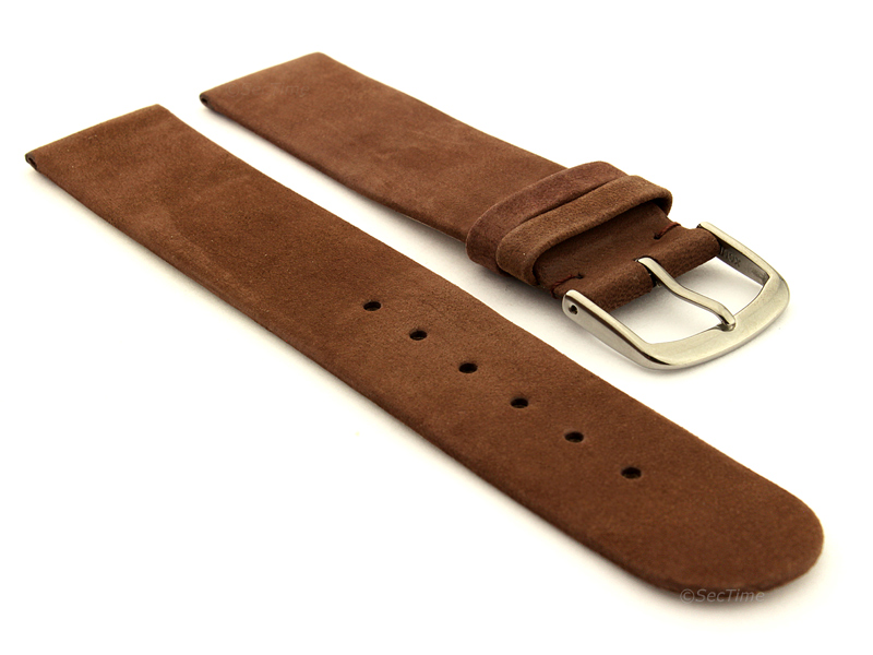 Suede Genuine Leather Watch Strap Malaga Cocoa 01