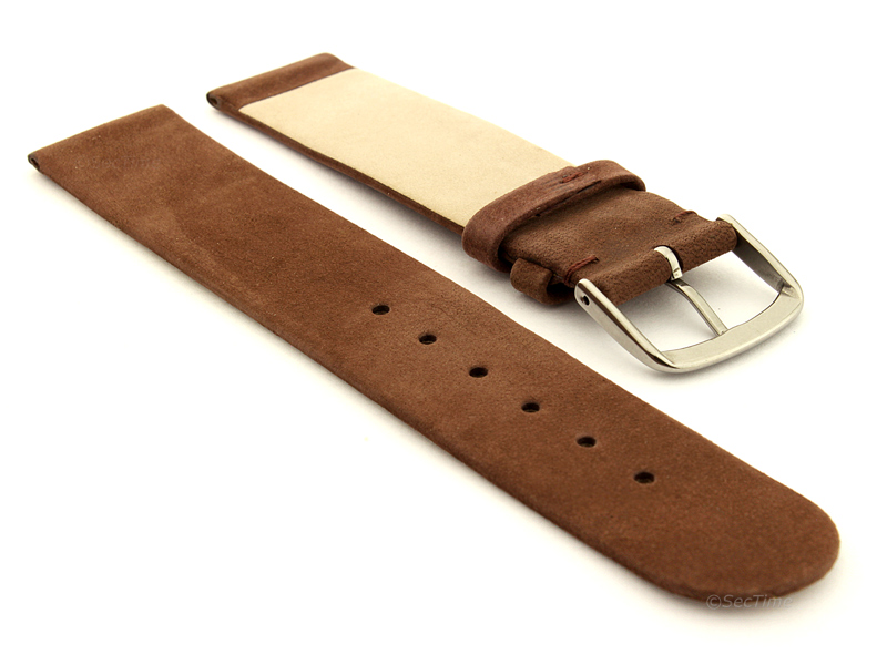 Suede Genuine Leather Watch Strap Malaga Cocoa 02