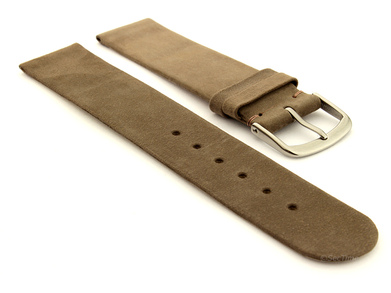 Suede Genuine Leather Watch Strap Malaga Coyote Brown 01