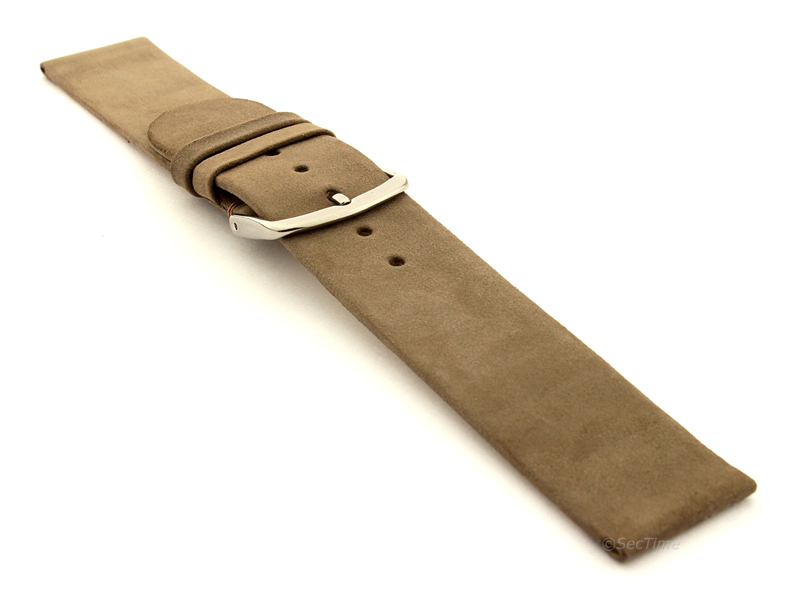 Suede Genuine Leather Watch Strap Malaga Coyote Brown 03