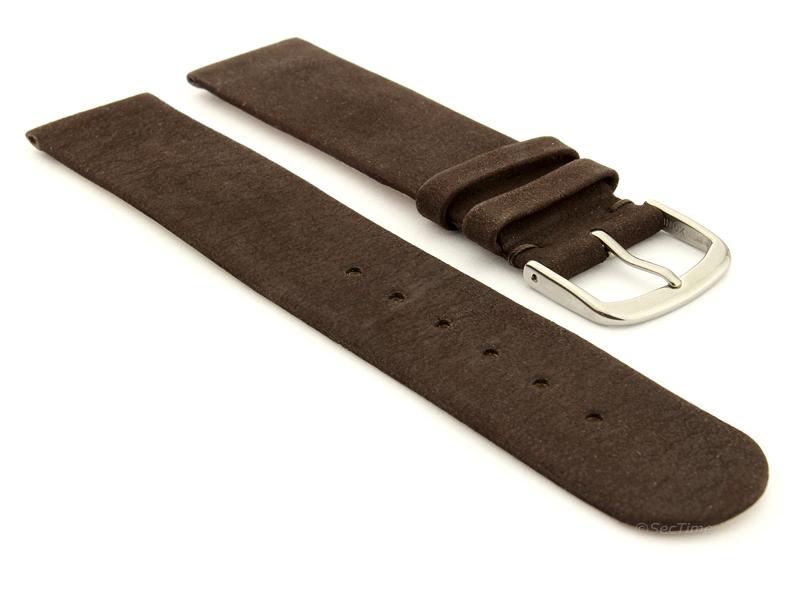 Suede Genuine Leather Watch Strap Malaga Dark Brown 01