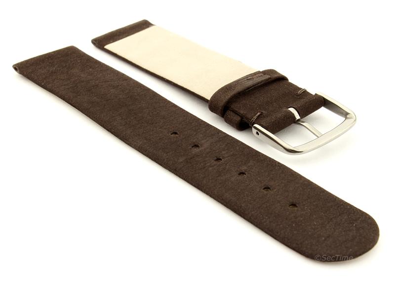 Suede Genuine Leather Watch Strap Malaga Dark Brown 02