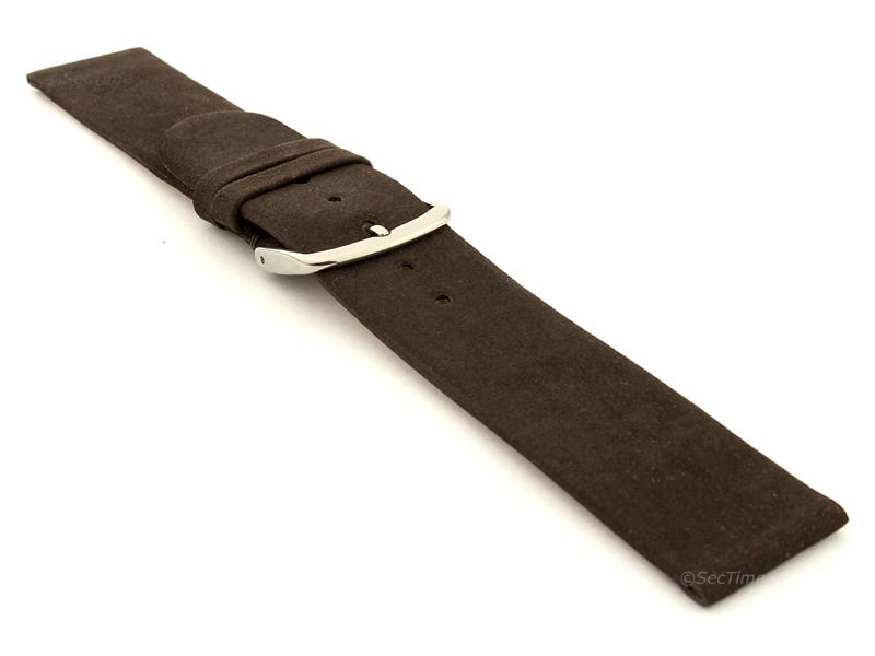 Suede Genuine Leather Watch Strap Malaga Dark Brown 03
