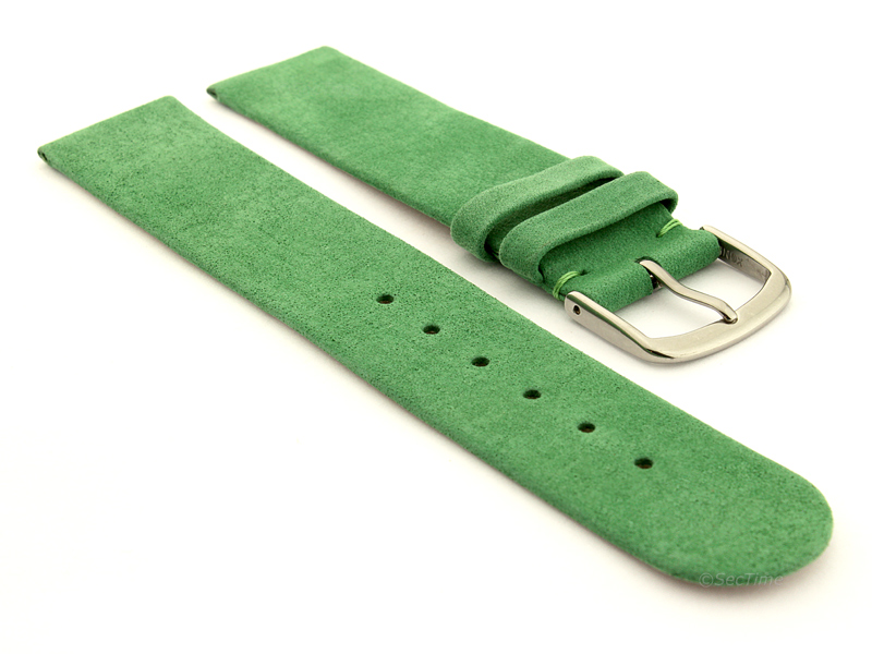 Suede Genuine Leather Watch Strap Malaga Green 01