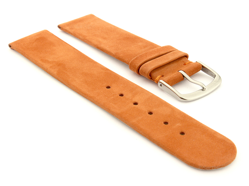 Suede Genuine Leather Watch Strap Malaga Orange 01
