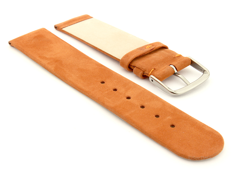 Suede Genuine Leather Watch Strap Malaga Orange 02