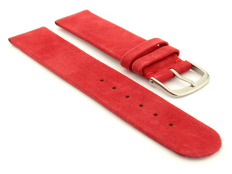 Suede Genuine Leather Watch Strap Malaga Red 01
