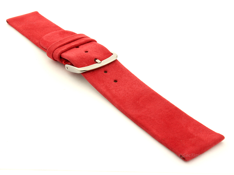 Suede Genuine Leather Watch Strap Malaga Red 03