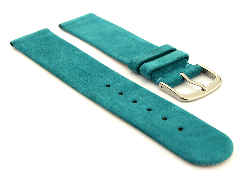 Suede Genuine Leather Watch Strap Malaga Turquoise 01