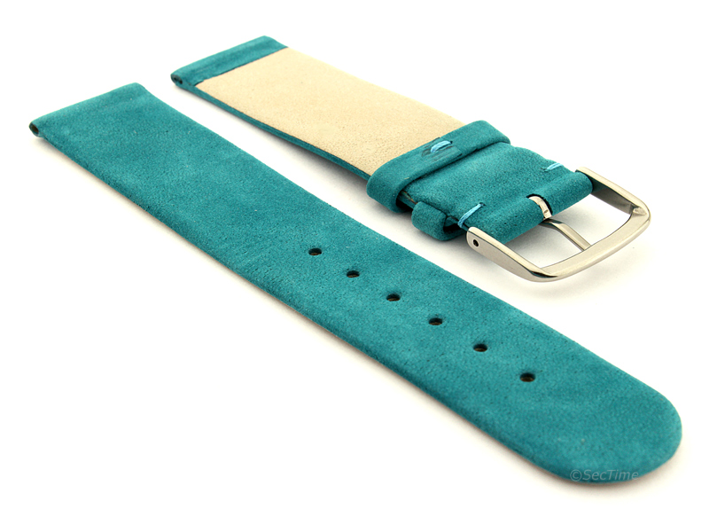 Suede Genuine Leather Watch Strap Malaga Turquoise 02