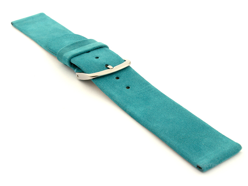 Suede Genuine Leather Watch Strap Malaga Turquoise 03