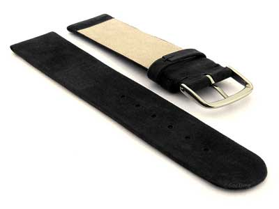 Suede Genuine Leather Watch Strap Malaga Black 22mm