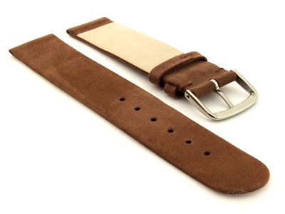 Suede Genuine Leather Watch Strap Malaga Cocoa Brown 12mm