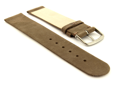 Suede Genuine Leather Watch Strap Malaga Coyote Brown 20mm