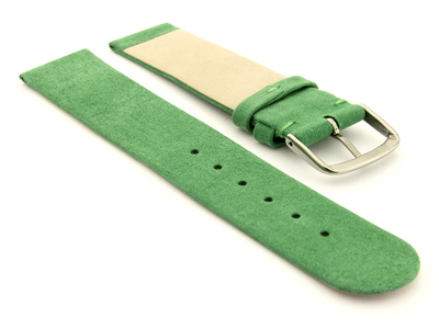 Suede Genuine Leather Watch Strap Malaga Green 12mm
