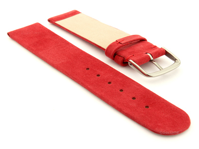Suede Genuine Leather Watch Strap Malaga Red 16mm