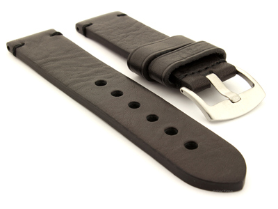 Two Tone Leather Watch Strap Maracana Black 01