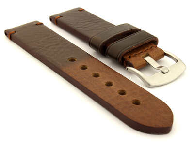 Two Tone Leather Watch Strap Maracana Dark Brown 26mm