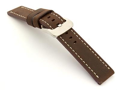 Leather Watch Strap Marina Matte Dark Brown 20mm