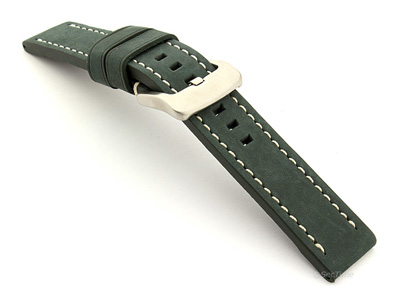 Leather Watch Strap Marina Matte Green 20mm