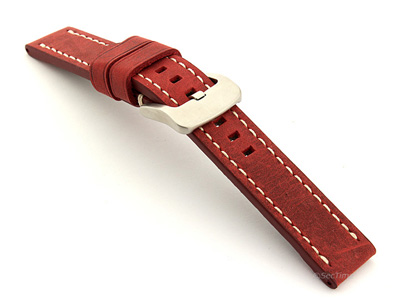 Leather Watch Strap Marina Matte Red 20mm