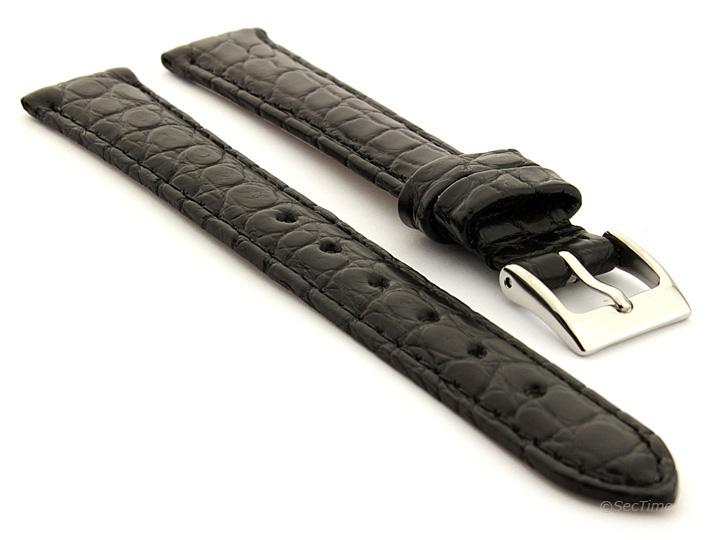 Genuine Crocodile Leather Watch Strap Miami CS Black 01
