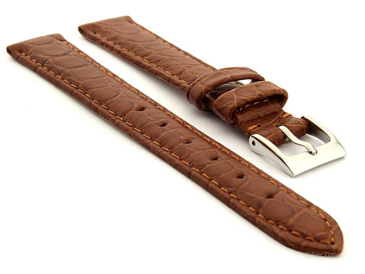 Genuine Crocodile Leather Watch Strap Miami CS Brown 01