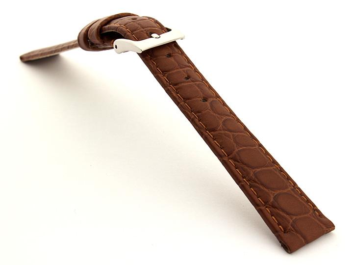 Genuine Crocodile Leather Watch Strap Miami CS Brown 02