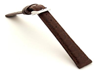 Genuine Crocodile Leather Watch Strap Miami CS Dark Brown 14mm