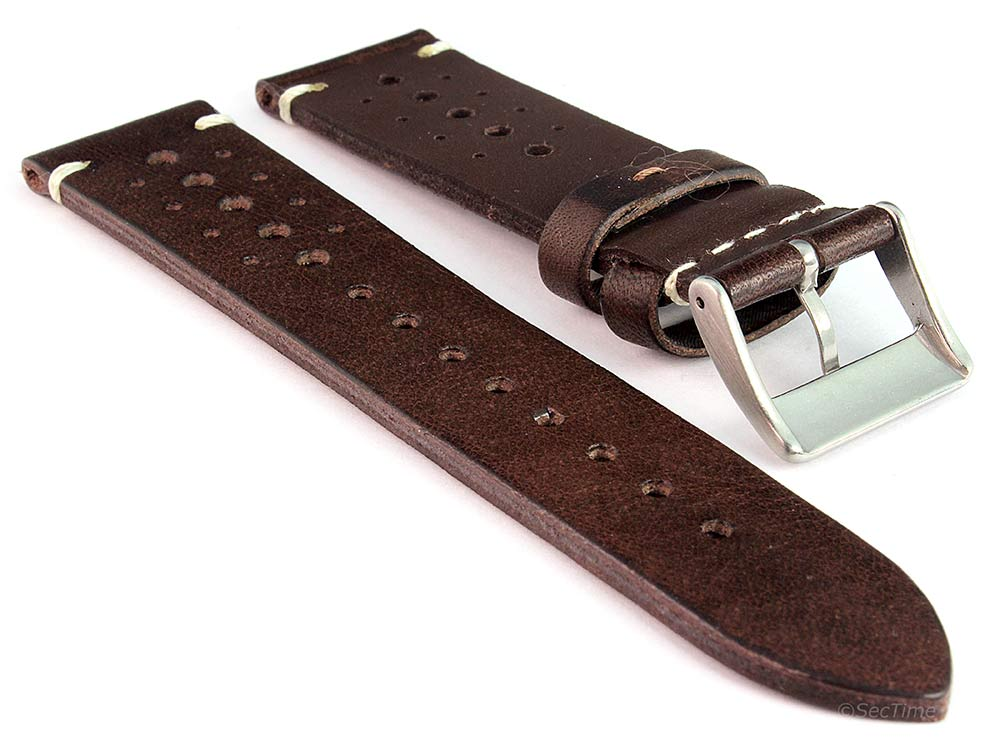 Perforated Genuine Leather Watch Strap Band Mirage Rally Racing Dark Brown 02