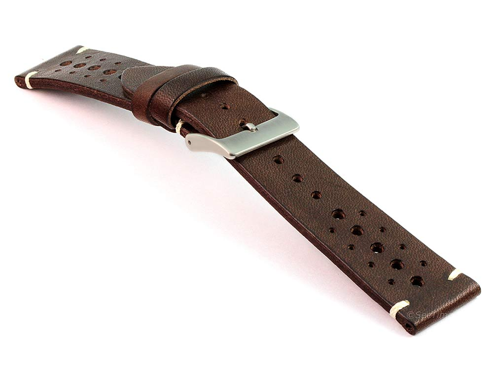Perforated Genuine Leather Watch Strap Band Mirage Rally Racing Dark Brown 03