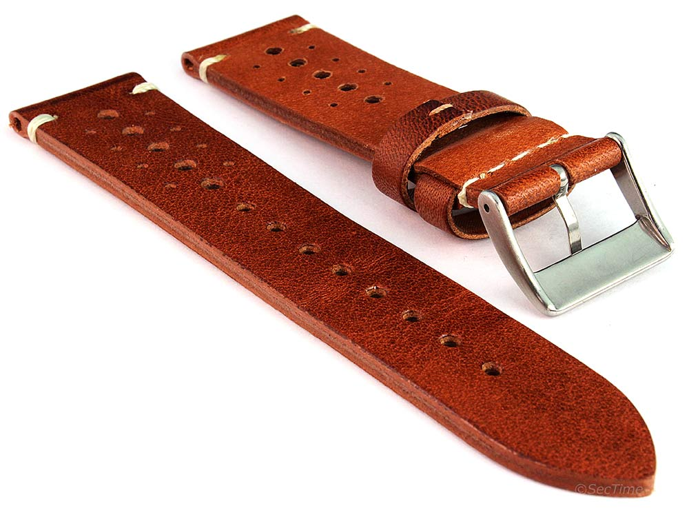 Perforated Genuine Leather Watch Strap Band Mirage Rally Racing Brown 02