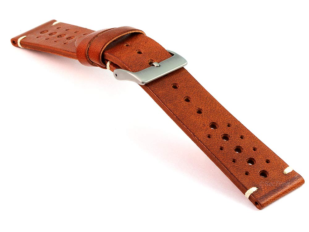 Perforated Genuine Leather Watch Strap Band Mirage Rally Racing Brown 03