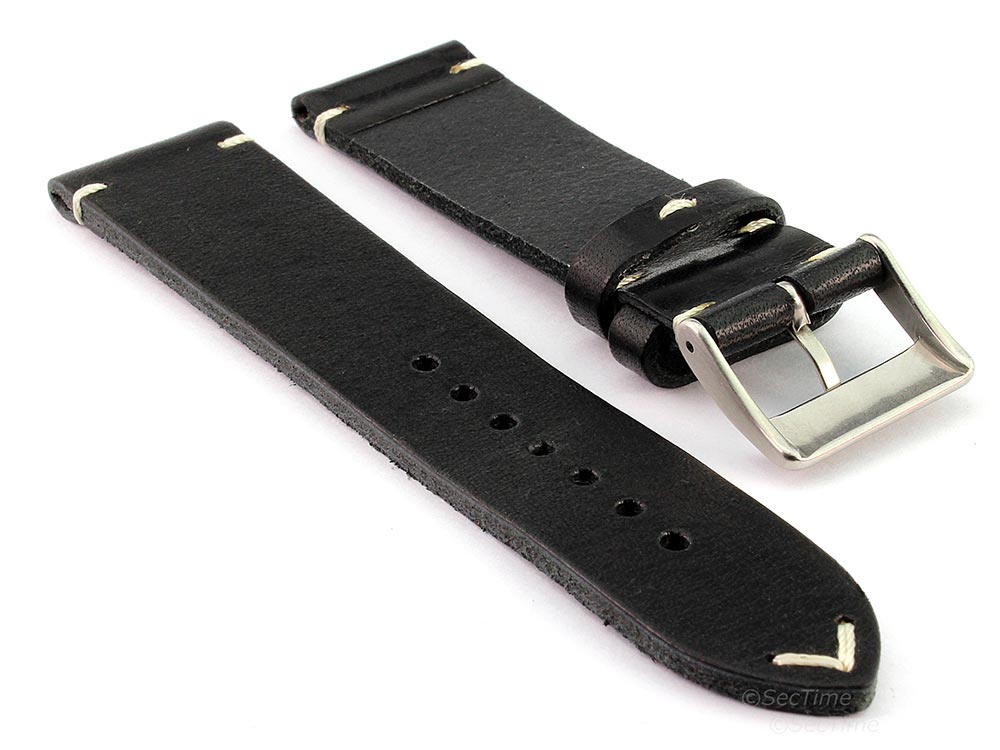 Genuine Leather Watch Strap Band Mirage Black 02