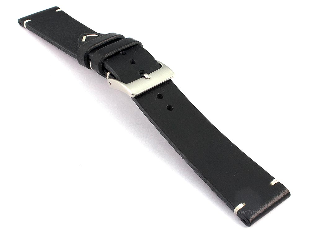 Genuine Leather Watch Strap Band Mirage Black 03
