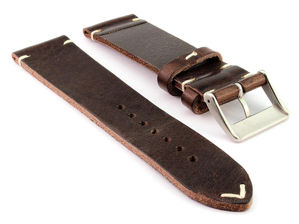 Genuine Leather Watch Strap Band Mirage Dark Brown 02
