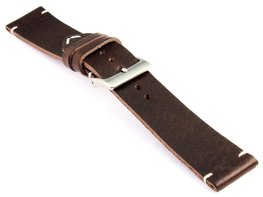 Genuine Leather Watch Strap Band Mirage Dark Brown 03