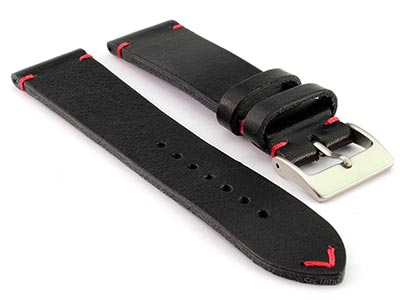 Genuine Leather Watch Strap Band Mirage Black/Red 22mm