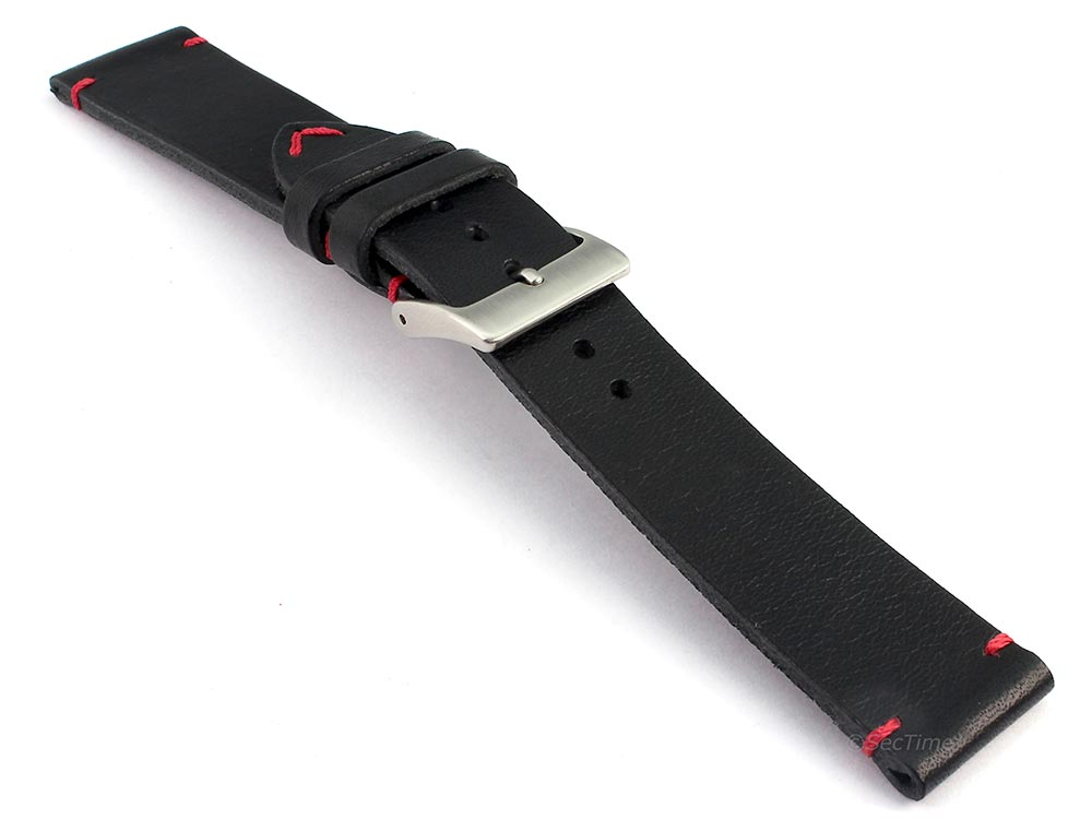 Genuine Leather Watch Strap Band Mirage Black/Red 03