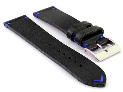 Genuine Leather Watch Strap Band Mirage Black/Blue 20mm