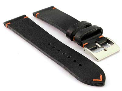 Genuine Leather Watch Strap Band Mirage Black/Orange 22mm