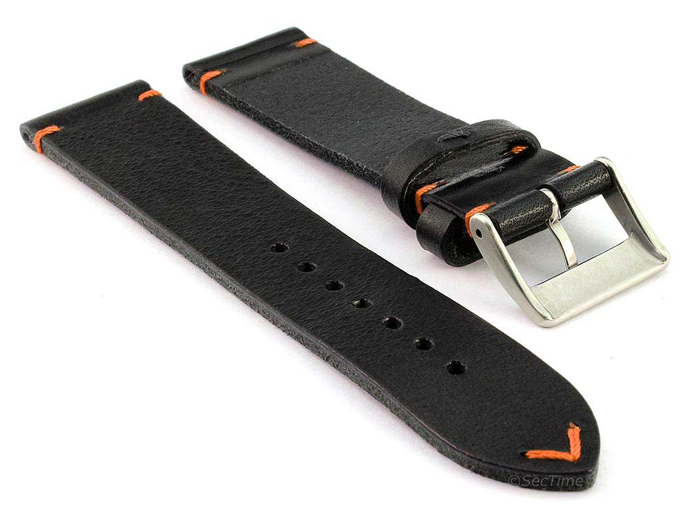 Genuine Leather Watch Strap Band Mirage Black/Orange 02