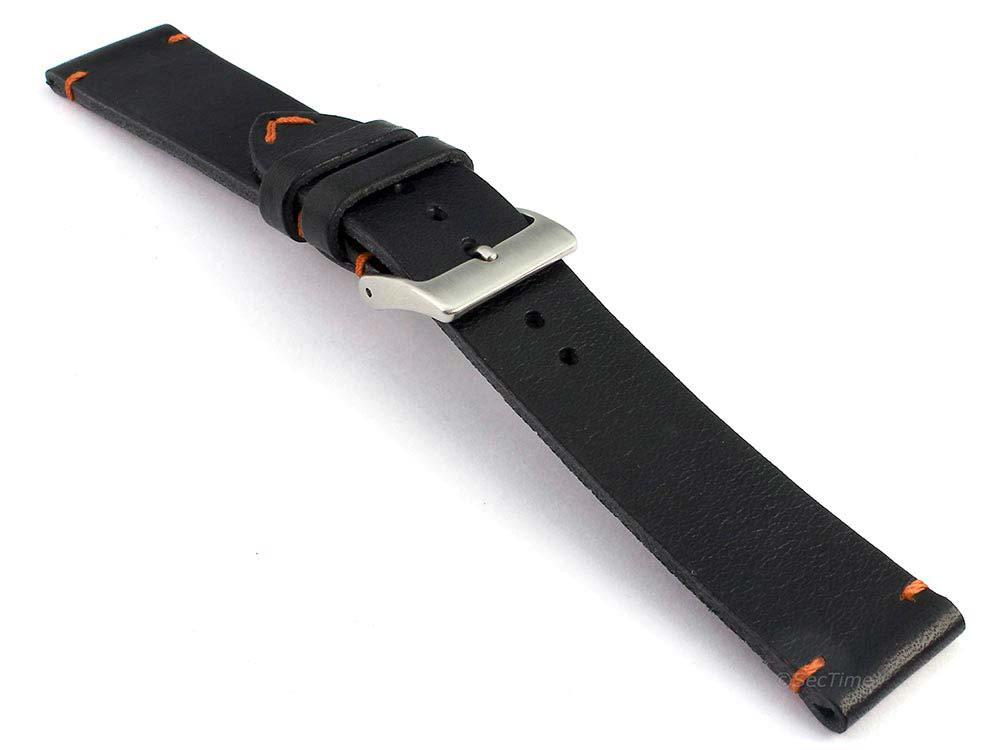 Genuine Leather Watch Strap Band Mirage Black/Orange 03