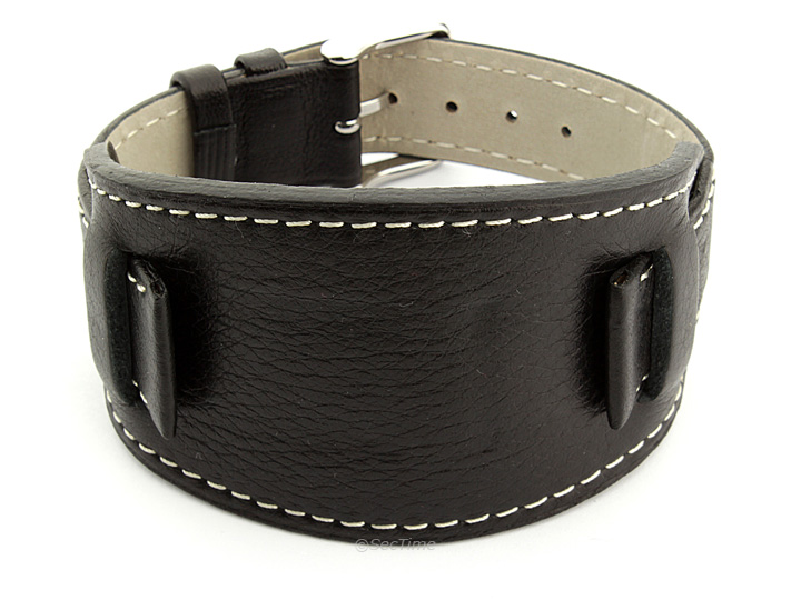Watch Strap Leather Black with Wrist Pad Monte 01