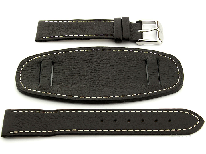 Watch Strap Leather Black with Wrist Pad Monte 02