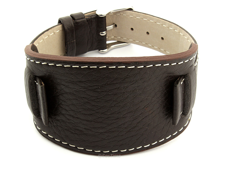 Watch Strap Leather Dark Brown with Wrist Pad Monte 01